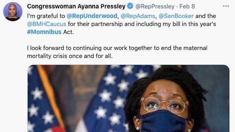 Ayanna Pressley Tweet About Momnibus Act